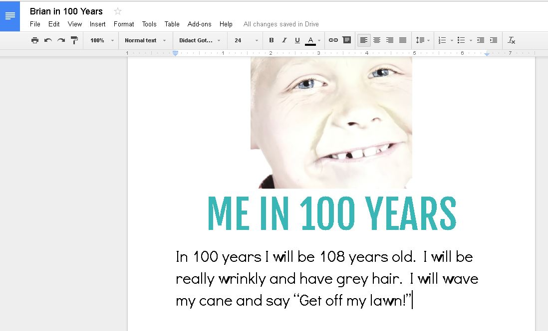 "Celebrate 100 Days of School using the free iPad app Aging Booth to ""age"" students 100 years! Inspire students on the 100th Day of School to write about what their life will be like in 100 years with this free app and activity idea."