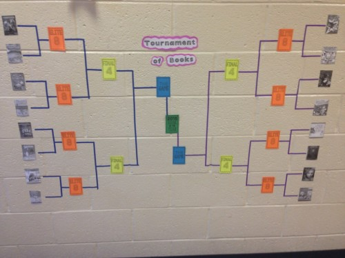 March Madness Book Tournament Display with tape and printed book covers
