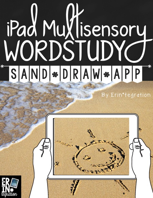 Word work on the iPad with the free app Sand Draw. Students can practice writing words in the sand with this free word work center. Students can practice letter formation, spelling and sight words too!