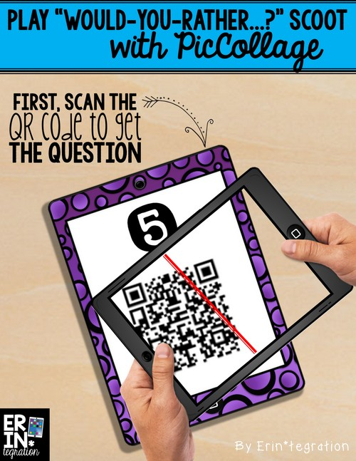 Students scan the QR code to set up Would You Rather Scoot with Pic Collage