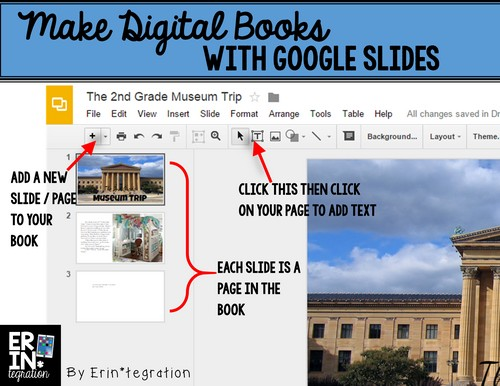 Make digital books with google slides - adding & adjusting text