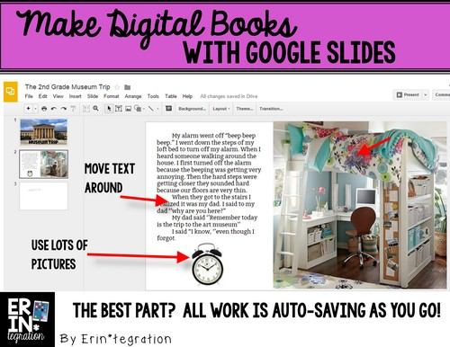 Making digital books on Google Slides: Arrange the page