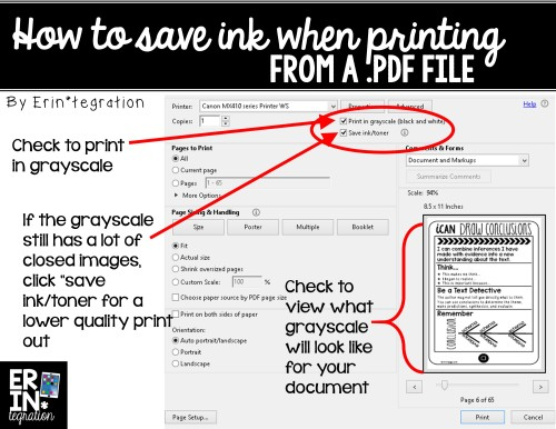 How to print low ink grayscale and low toner from pdf