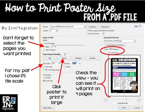 How to print a .pdf file poster-zized
