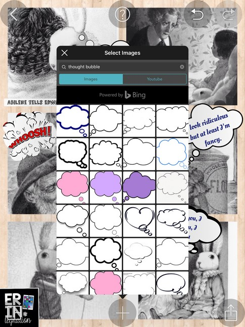 Turn any photo collage into a digital comic strip on the iPad by using the free app PicCollage's image search to find speech and thought bubbles. Genius!