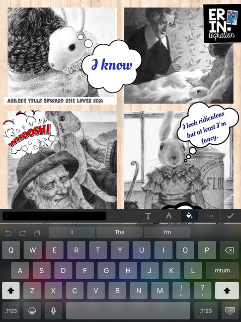 Turn any photo collage into a digital comic strip on the iPad by using the free app PicCollage's image search to find speech and thought bubbles. Then add text over them! Genius!