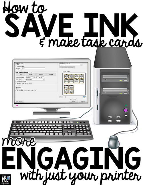 SIMPLE TIP TO SAVE INK WHEN PRINTING TASK CARDS