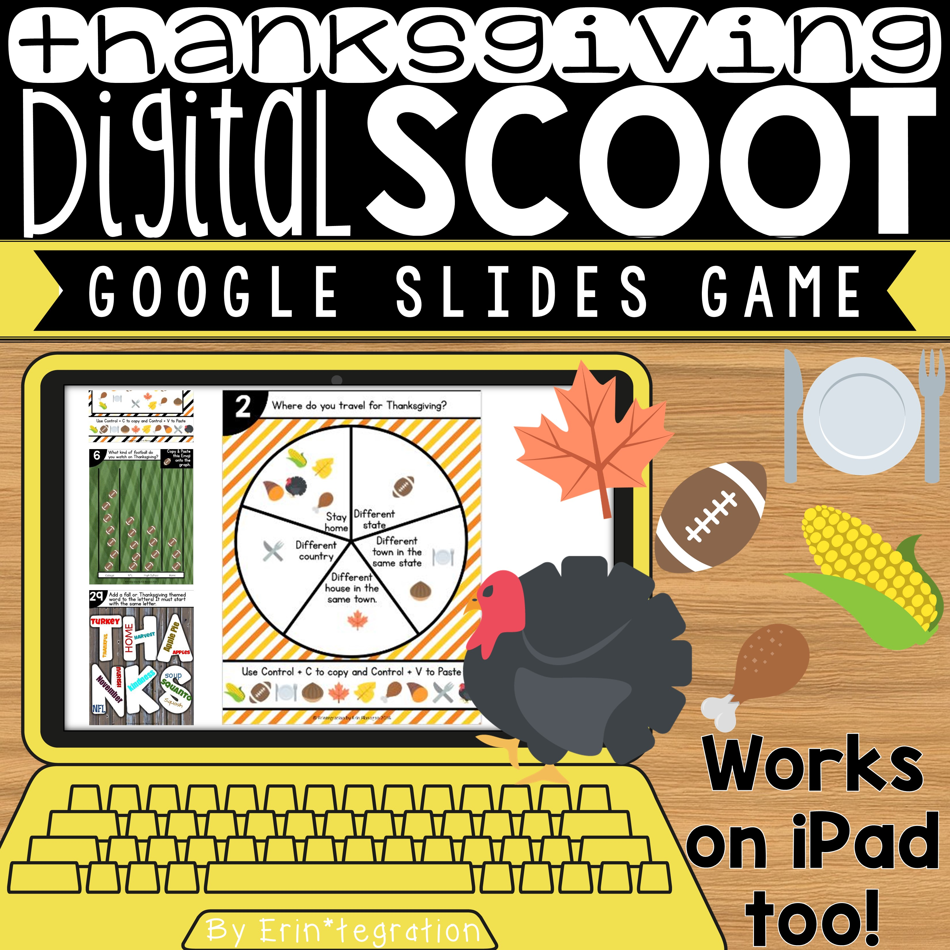Erintegration Thanksgiving Digital Scoot Game for Google Slides