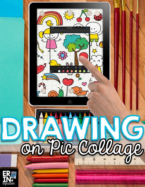 Did you know you can use the free iPad app Pic Collage like a whiteboard or drawing app too? Personalize digital projects with a simple hack for drawing on the free iPad app Pic Collage. Learn how to create your own pictures, doodles, portraits, sketchnotes and more to use on the app and some ideas for integrating Pic Collage drawings into the elementary curriculum.