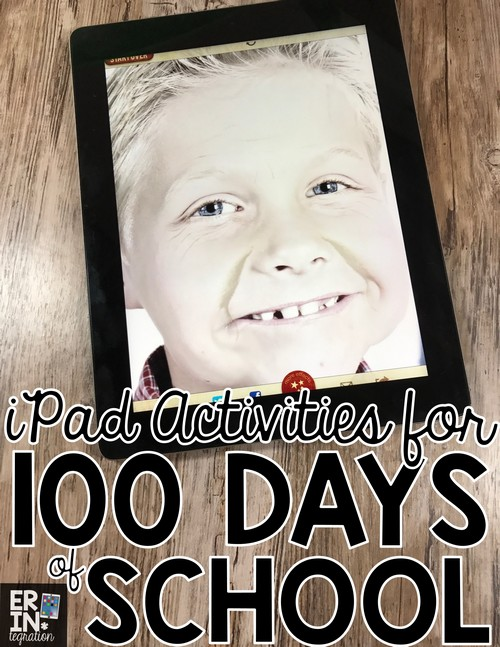 """Celebrate 100 Days of School using the free iPad app Aging Booth to """"age"""" students 100 years! Inspire students on the 100th Day of School to write about what their life will be like in 100 years with this free app and activity idea."""