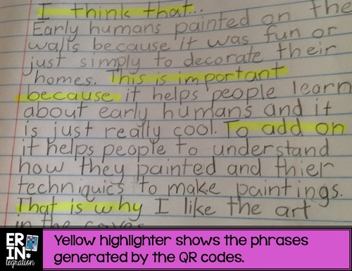 Completed paragraph using QR Roll, Scan, and Write to scaffold paragraph writing