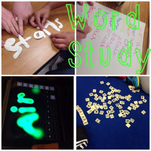 Make words out of beads and other multisensory word work center ideas - include ideas for using the iPad!