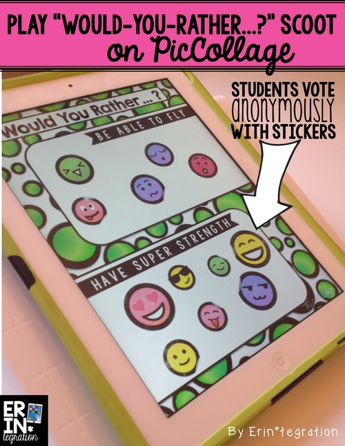 iPad Back to School Activity: Scoot! Students sign with Stickers on Pic Collage