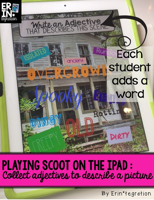 Play Scoot with iPads - tech twist on a traditional game using Pic Collage! Each student adds their name to the screen to vote during each round.