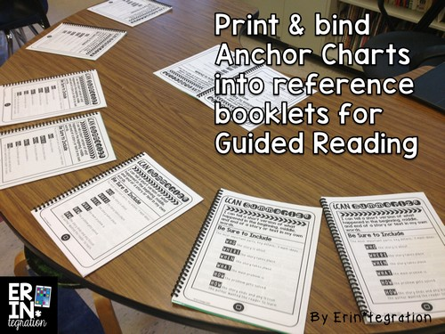 Print anchor charts and bind into booklets to use during guided reading or with reading strategy groups. This post explains exactly how and other tips for printing and using anchor charts in the classroom. Free booklet covers at the link too!