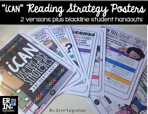 """Reading strategy anchor charts: iPad theme! """"iCan Use Reading Strategies"""""""