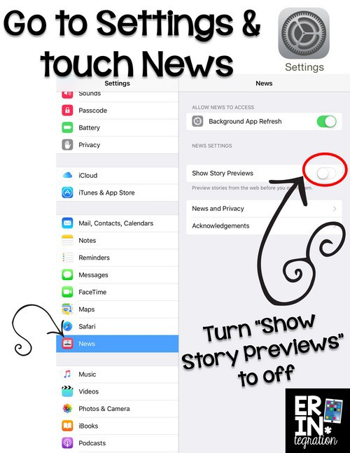 Change the News feed settings in the latest iOS 9 update on elementary student iPads. I'm all for current events but only those from kid friendly appropriate sources. A quick change will easily hide images and descriptions in the the feed from young student eyes.