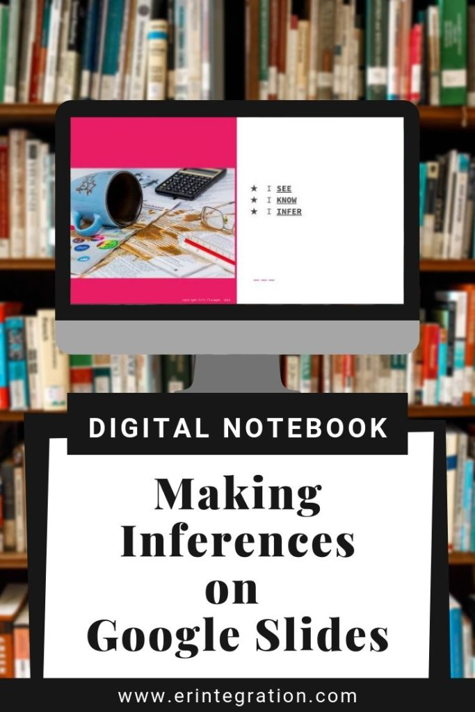 Computer with Google Slides Inferences Template Displayed