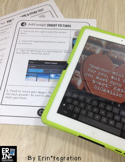 Valentine's Day technology integration ideas for the elementary classroom. Creative ways to use iPads, PCs, and Chromebooks that your students will LOVE! Use PicCollage to write your own conversation heart messages and more at the link! I love how students can write quotes from books they love on these.