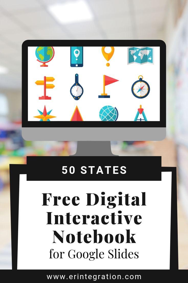 Free 50 States Digital Interactive Notebook on Google Slides -