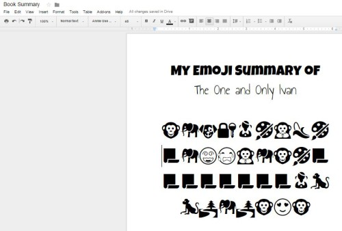 Make emoji book summaries on Google Docs with this free plug in.