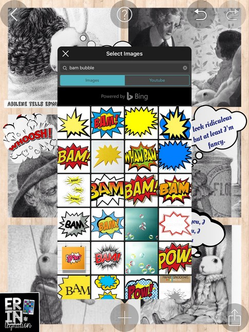 Turn any photo collage into a digital comic strip on the iPad by using the free app PicCollage's image search to find speech and thought bubbles. You can also search for action bubbles! Genius!
