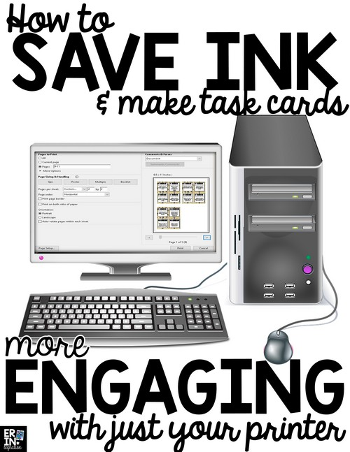 Save ink and increase engagement when using task cards with this simple trick for printing task cards.