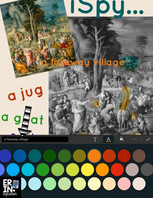Use the splash tool on the free iPad app Pic Collage to make hidden picture from a masterpiece artwork or illustration from a book. Technology integration & art. Plus it ties into a close reading lesson. Learn how at the link.