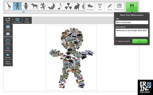 Create a photo collage with the pictures arranged into ANY shape with the free online tool Loupe. Loupe makes the collage automatically too! Have students collage photos taken all year long for an engaging end of year project on Chromebooks, laptops, and more! Fun end of year technology lesson for elementary.