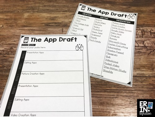 Are you looking to add more student choice into your classroom? Have an iPad App Draft and allow students to choose the iPad apps to use in projects and presentions that integrate technology. The App Draft is an engaging and app-smashing way to encourage creativity and critical thinking. Learn how I set up and run an App Draft plus download the apps, student recording sheets, and draft picks for FREE when you subscribe to Erintegration.