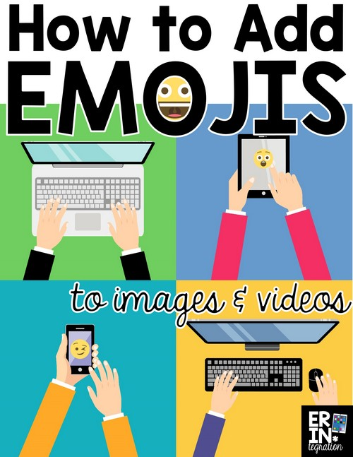 Want ideas for using Emojis in the classroom? Add Emojis to images on the iPad with free apps like Pic Collage, Seesaw, Clips and more.  Plus how to use Emojis on the Chromebook and Google Apps.