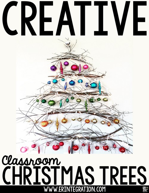 Image of creative classroom trees made from unconventional materials.