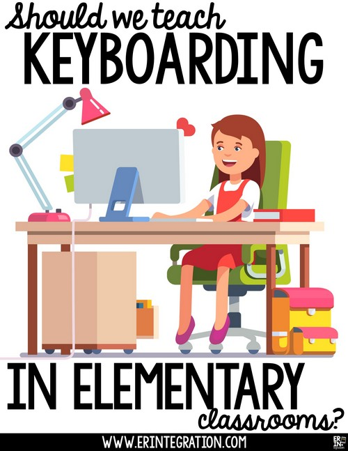 Should elementary students be learning proper keyboarding techniques? Learn why keyboarding should not be the focus of your computer lab time or digital activities until at least 3rd grade. Plus discover what students should focus on instead of learning to type. Image of girl at computer