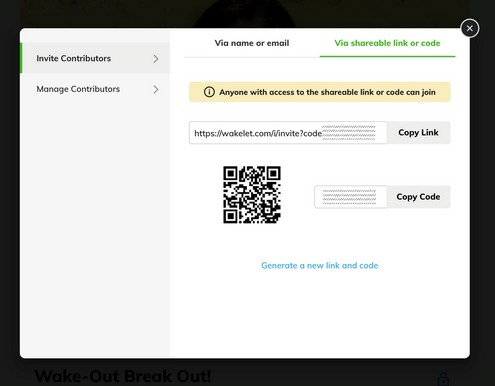 How to Create a Breakout with Wakelet Wake Out Reward Board: Click Manage Contributors to Get a Share URL, Code, and QR Code