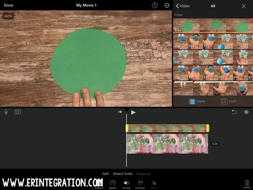 set transparent object on iMovie green screen screenshot