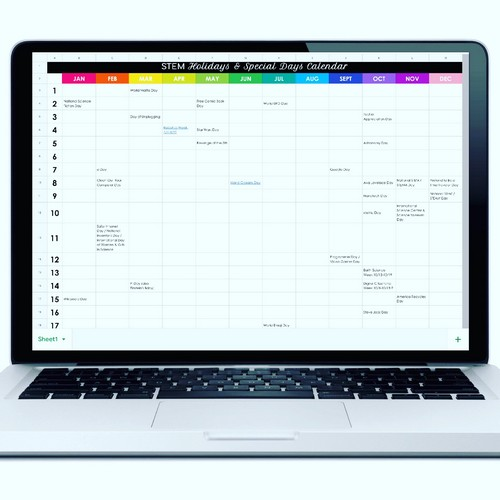 Computer with STEM Holiday Calendar Displayed on Google Sheets