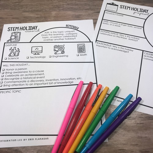 Create your own STEM Holiday Graphic organizers