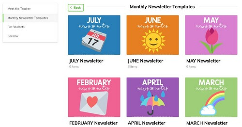Screenshot of monthly newsletter templates on Wakelet
