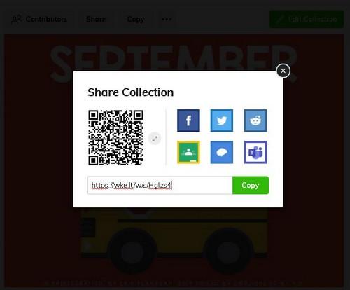 screenshot sharing options on Wakelet