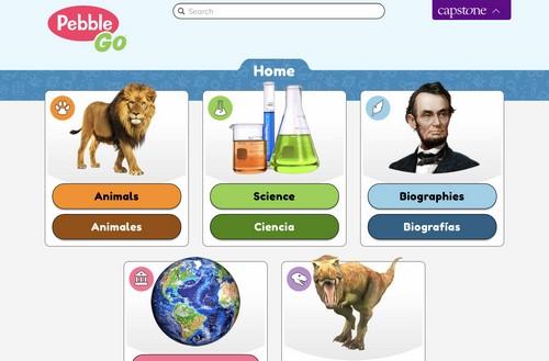 screenshot of PebbleGo topics
