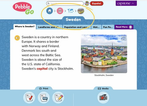 screenshot of online research on PebbleGo