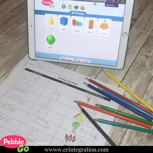 screenshot of 3D shape category on PebbleGo