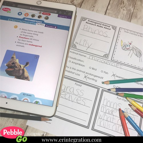 Screenshot of PebbleGo animal article for research during Project Based Learning