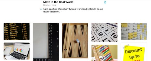Screenshot of a math in the real world mood board on Wakelet