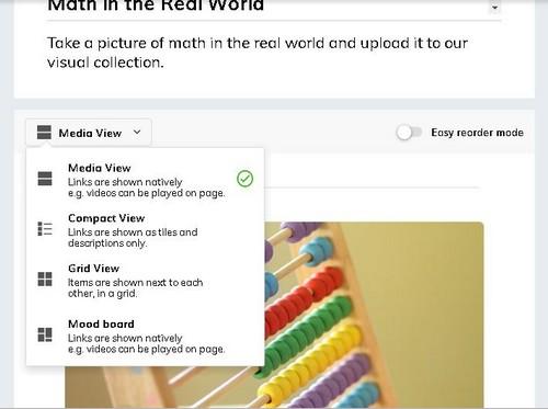 screenshot of Media View drop down menu with mood board option on Wakelet