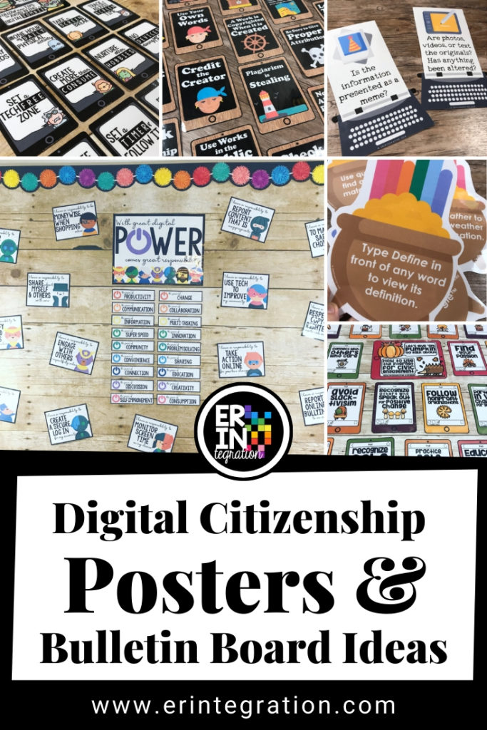 collage of various digital citizenship bulletin boards by Erintegration