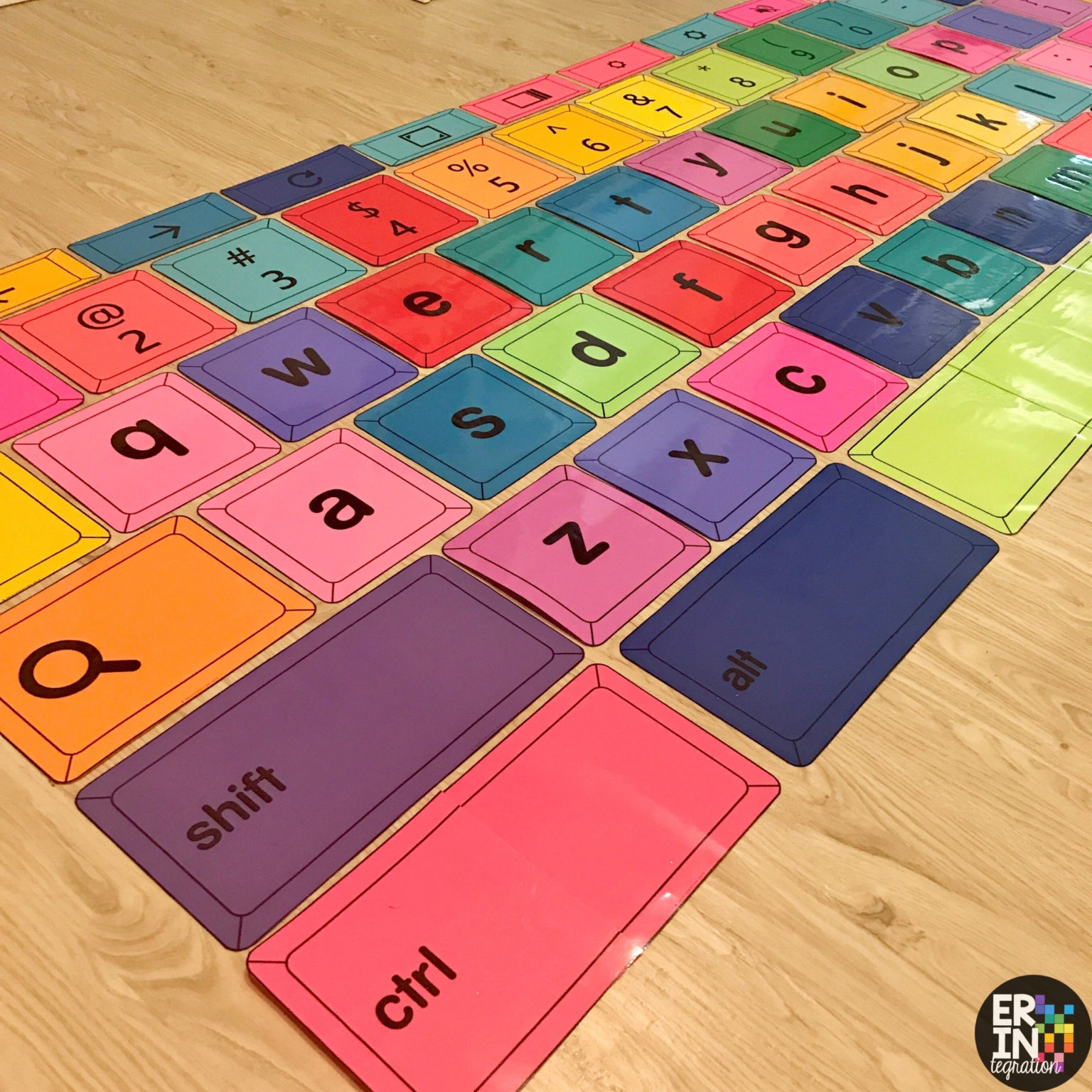 large printable Chromebook Keyboard laid out on classroom floor