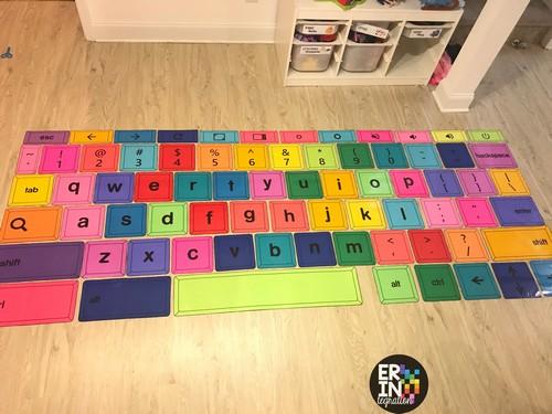giant printable Chromebook Keyboard keys on the floor