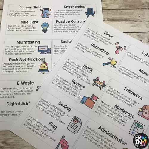 Erintegration digital citizenship word wall cards