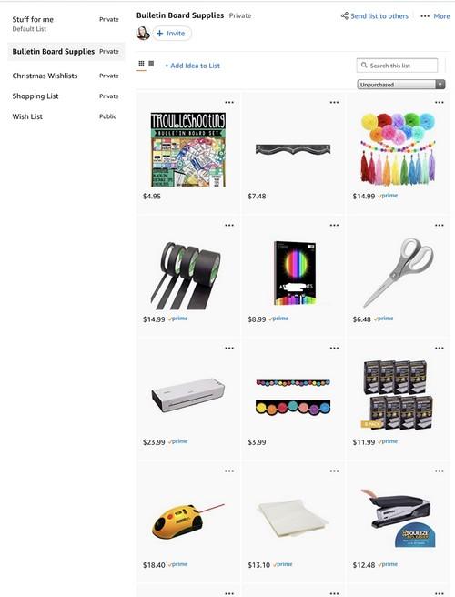 screenshot of teacher wishlist on Amazon
